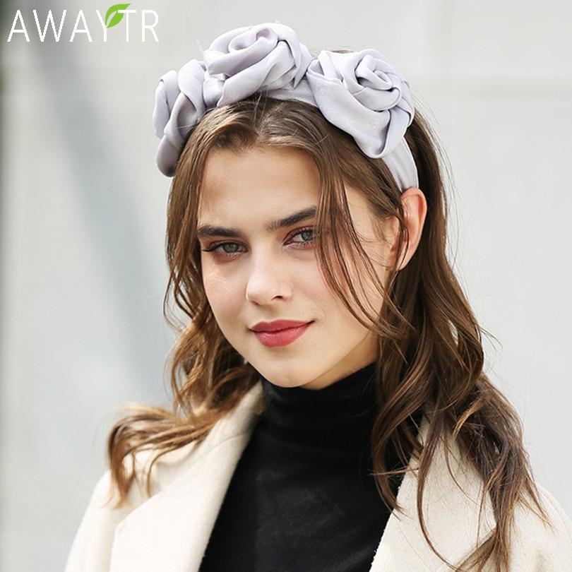 AWAYTR Solid Color Satin Rose Flower Headbands For Women Head Bands Bezel Hairbands Women Girls Hair Accessories Hair Hoop