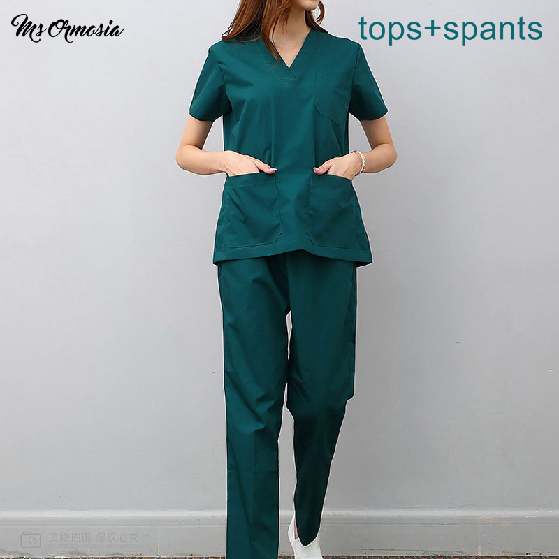 Women Men Medical Uniforms Nursing Scrubs Surgical Suit Doctor Clothing Lab Coat Clinical Tops Pants Pharmacy Beauty Hospital