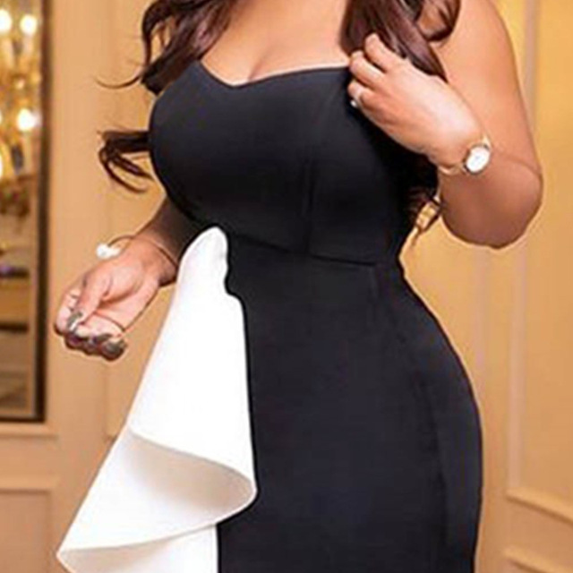 White And Black Mermaid Long Evening Dresses Short Front Long Back Formal Evening Gown With Stretch Plus Size Dress ESAN235 3