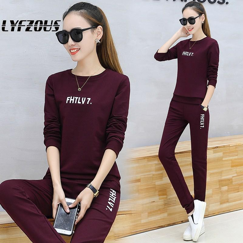 LYFZOUS Tracksuit For Women Casual Letter Print Sweatshirt And Trousers 2 Two Piece Set Spring Autumn Woman Fashion Sport Suits