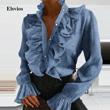 Summer Ruffle Button Chiffon Blouse Spring Elegant Flare Sleeve Women Tops Blusa