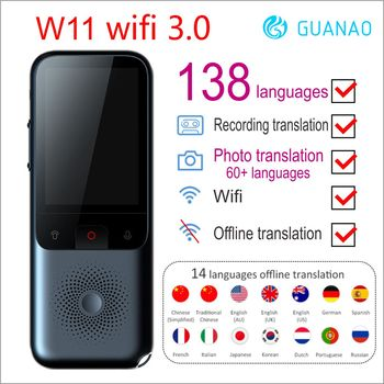 Instant Travel Translator Voice Smart 138 Languages Online Offline Dialect Real-time W1 WIFI 3.0 AI Recording Translation HD