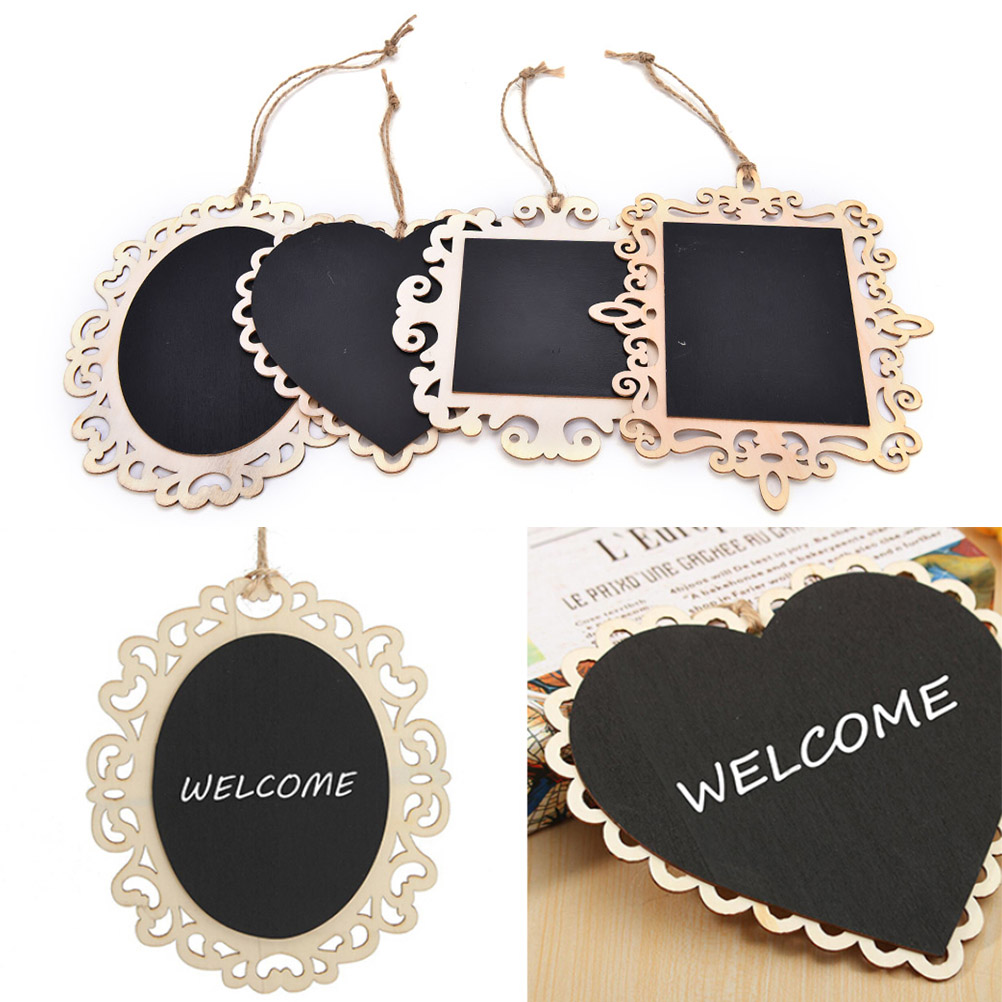 1PC Heart Mini Vintage Blackboard Halkboard Wooden Message Sign With Hang String Wedding Party Decorations Message 5sizes