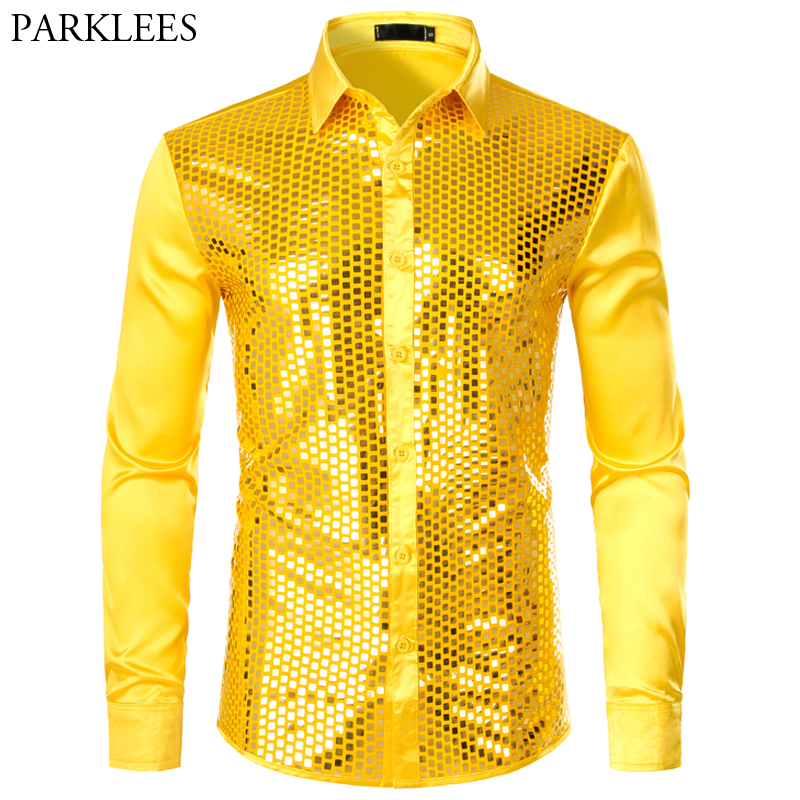 Smooth Silk Men Shirt Shiny Plaid Sequin Gold Shirts Men Fashion Glitter Men Dress Shirts Prom Disco Party Shirt Long Sleeve Men