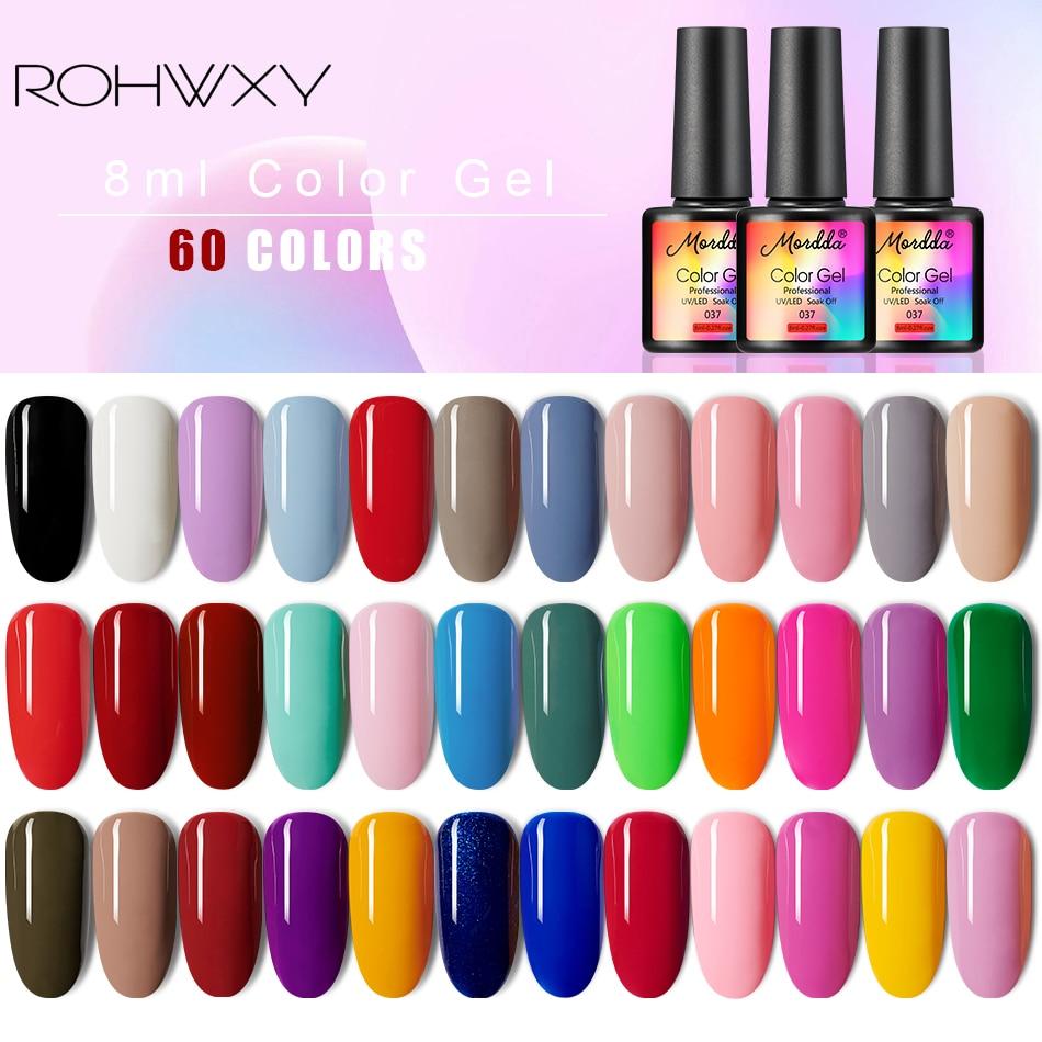 ROHWXY 8ML Nail Gel Polish Soak Off Enamel Gel Polish UV Nail Gel Lacquer Varnish for Manicure Nail Art Design 60Colors(China)