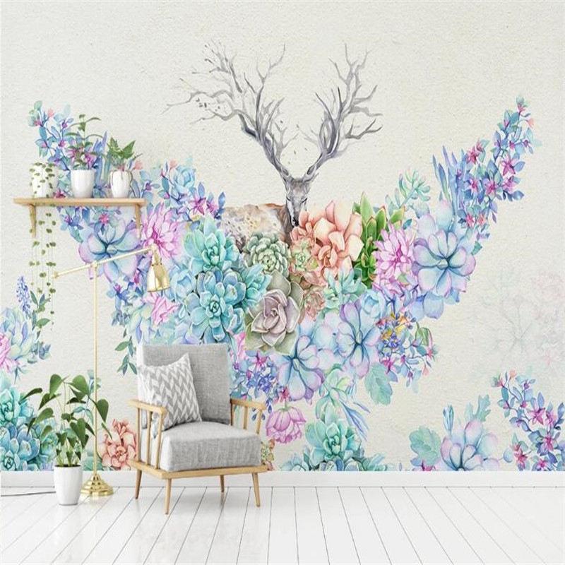 Large 3D Wallpaper Mural Custom Nordic Plant Flower Elk Living Room Hand Painted Large Background Wall Painting