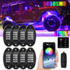 4/6/8 Pods RGB LED Rock Lights Underbody Neon Music bluetooth Multicolor Underglow For Jeep Boat Car SUV ATV Off Road Truck