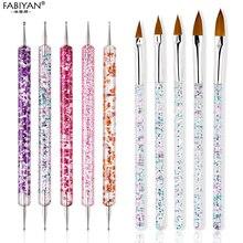 5Pcs/Set 9/11/13/15/17mm Nail Art Crystal Brush UV Gel Builder Painting Dotting Pen Carving Tips Manicure Salon Tools