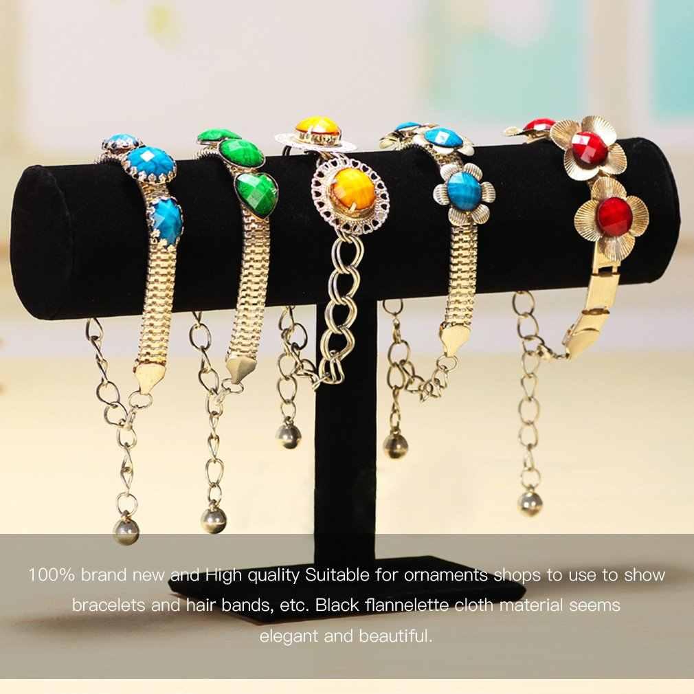 OUTAD vigilanza della catena del braccialetto titolare T bar rack mensola di esposizione dei monili dell'organizzatore del supporto del basamento Packgaing velluto nero Negozio Vetrina