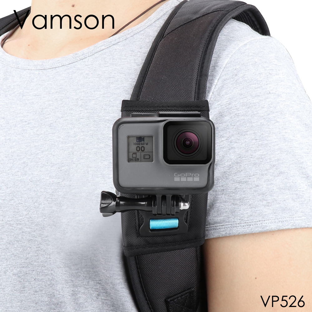 Vamson For Gopro 8 7 6 5 Session Accessories Backpack Clip 360 Degree Rotatable Fixed Bracket Base For DJI OSMO For Yi 4K VP526