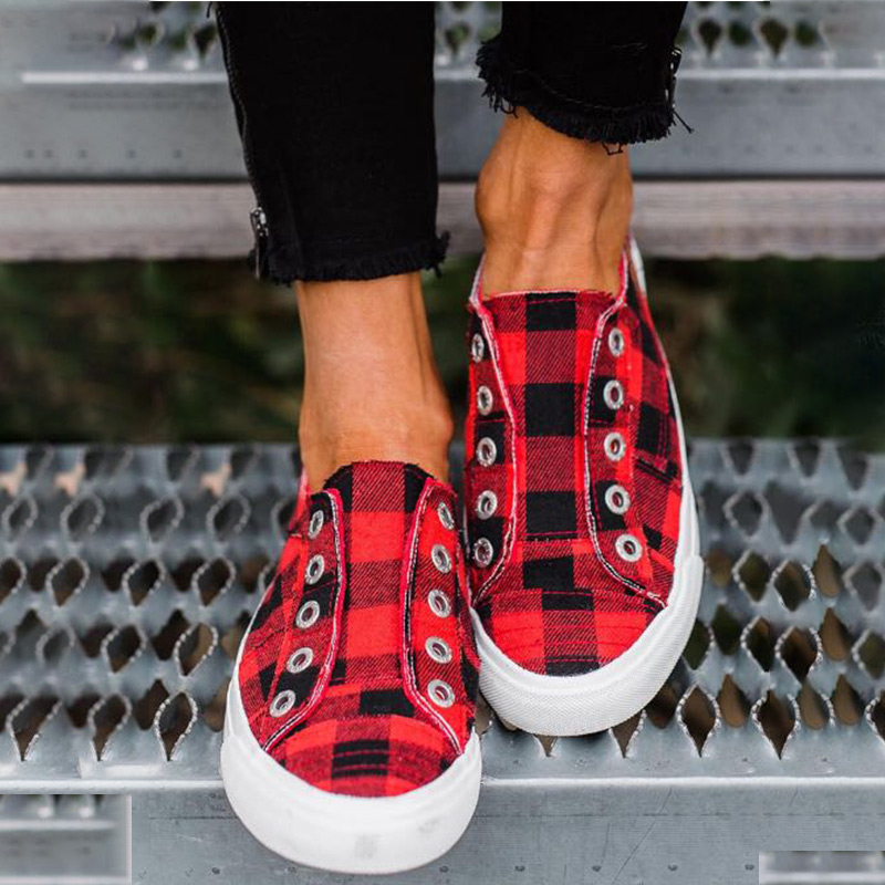 2020 Women's Vulcanized Shoes Plaid Canvas Shoe Women Casual Sneakers Flats Woman Slip On Platform Ladies Lattice Ladies Spring