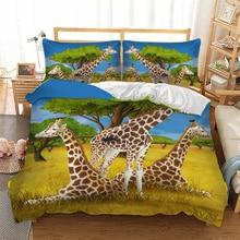 3D Giraffe Bedding Set Grassland Animal Duvet Cover Pillowcase Twin Queen King Size Bedclothes 3pcs home textiles