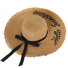Women Seaside Sun Cap Straw Hat Bowknot Ribbon Camping Summer Wide Brim Letter Outdoor Embroidery Adjustable Walking Beach(China)