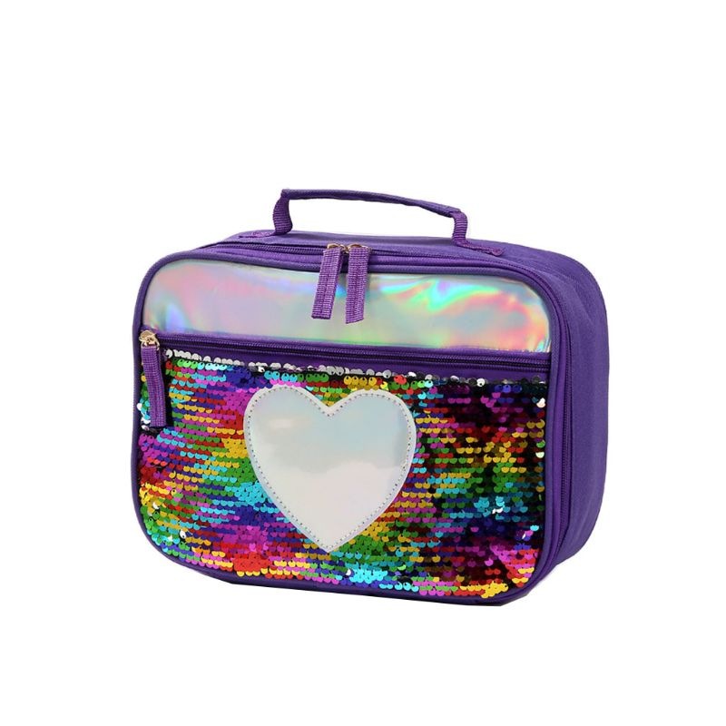 Flip Sequins Insulated Lunch Bag Thermal Cooler Picnic Food Box Tote Carry Bags