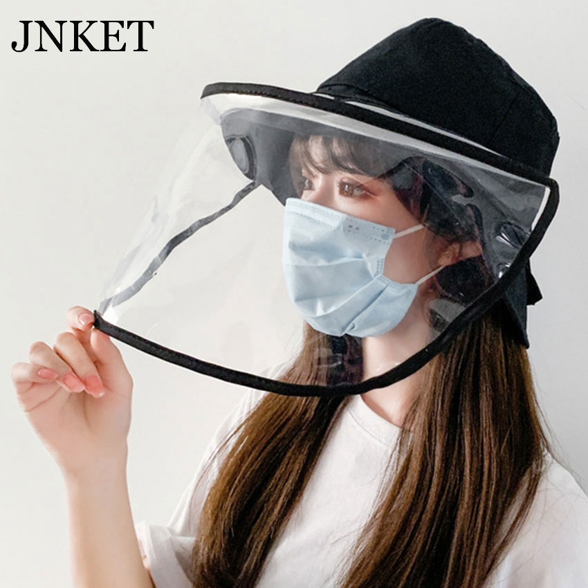 JNKET Women  Bucket Hat Detachable Face Mask Cap Protective Hat Anti-saliva Anti-dust Full Face Protective Fisherman Cap