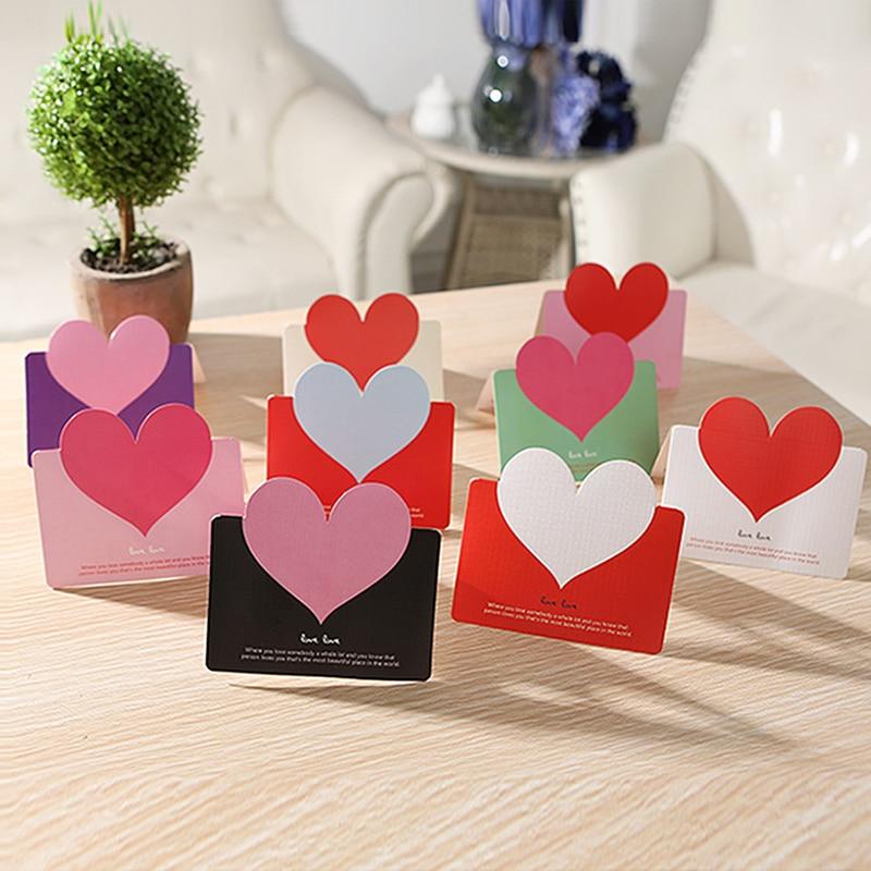 10PCS 다채로운 3D 심장 카드 발렌타인 생일 축하 크리스마스 파티 결혼식 초대장 편지 인사말 카드