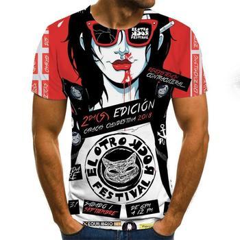 2020 Mens horror T shirts Fashion New Summer Men's Short Sleeve T-shirt Casual 3D Zombie Print Rock
