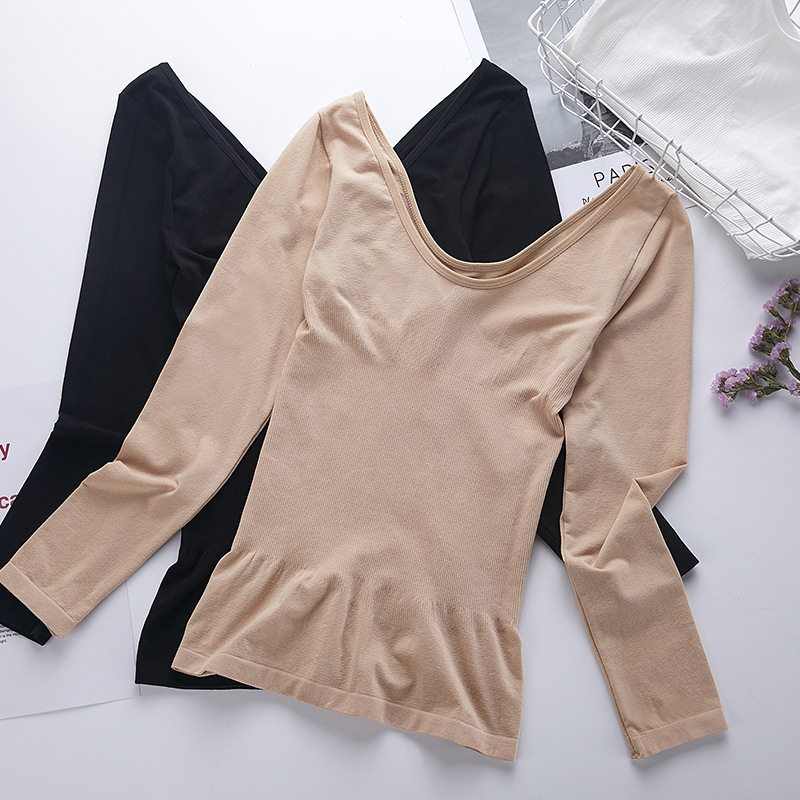 Winter Termal Shirt  Body Sculpting  Women   Slim Autumn  Underwear Neck Long Warm  Underwear Thermal  Tops Women For