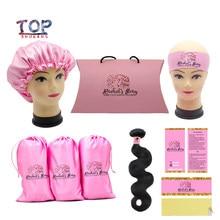 Pacote de sacos de cetim para embalagens, logotipo personalizado para cabelo com embalagem para sacos/para pendurar/com adesivo