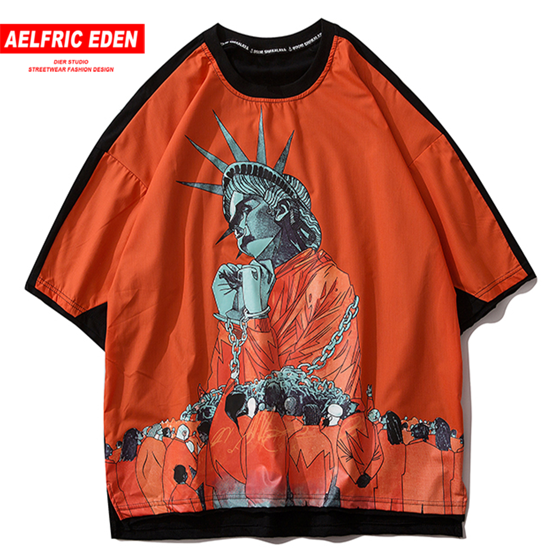 Aelfric Eden Goddess Of Liberty Print T Shirt Men 2020 Hip Hop Harajuku Short Sleeve Fashion Casual Cotton Tops Tees Streetwear