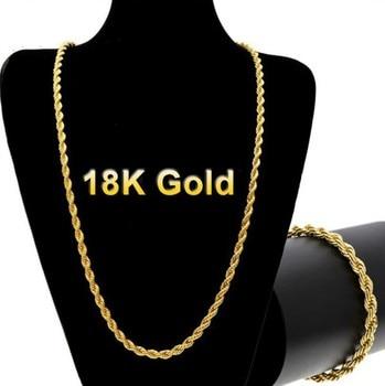 Punk Cuban 18 K Link Chain Jewelry K-Gold Jewelry