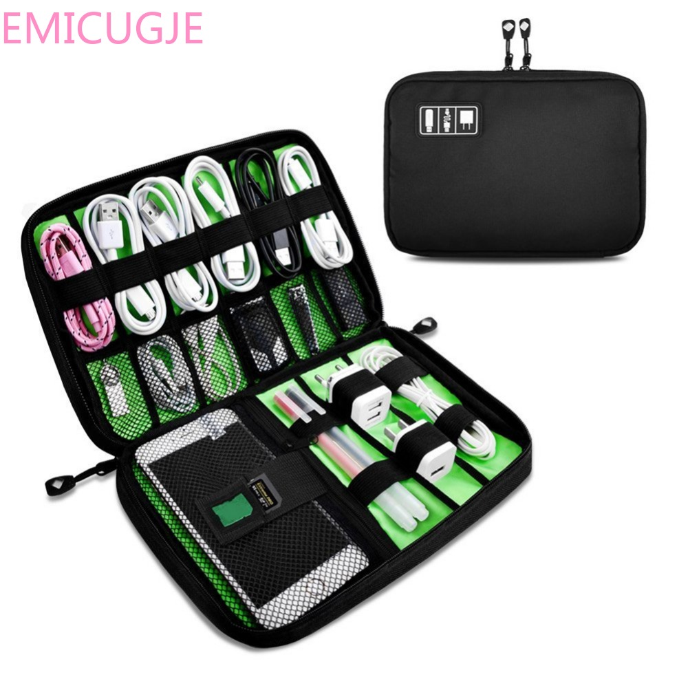 Electronic Accessories Hard Drive Storage Bags Portable Travel Zipper USB Cable Bag Organizer Black Nylon Phone