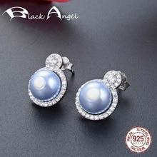 8mm Freshwater Pearl Wedding Earrings Fine Jewelry Genuine 925 Sterling Silver CZ Stud Earrings for Women цена 2017