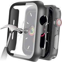 Glas Fall Für Apple Uhr Serie 5 4 44mm 40mm iWatch 3 2 42mm 38mm 40 42mm Gehärtetem stoßstange Screen Protector Abdeckung Zubehör