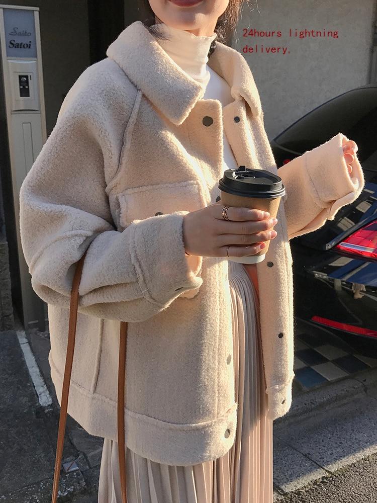 2021 early spring anti sheepskin coat female new loose plush coat shirt jacket