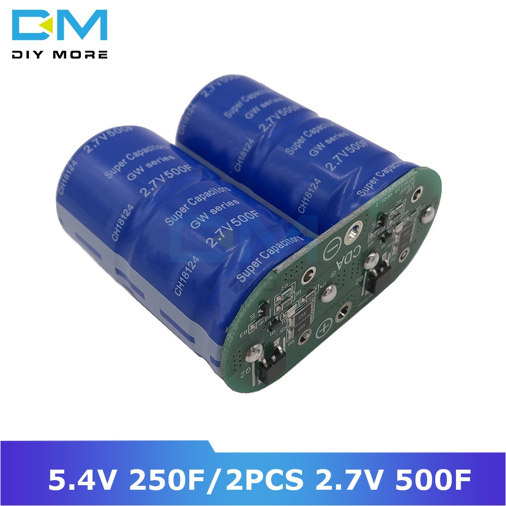 Super Farad Capacitors 2PCS 2.7V 500F Super Capacitor With Protection Balance Board Single Rows 5.4V 250F Ultracapacitor For Car