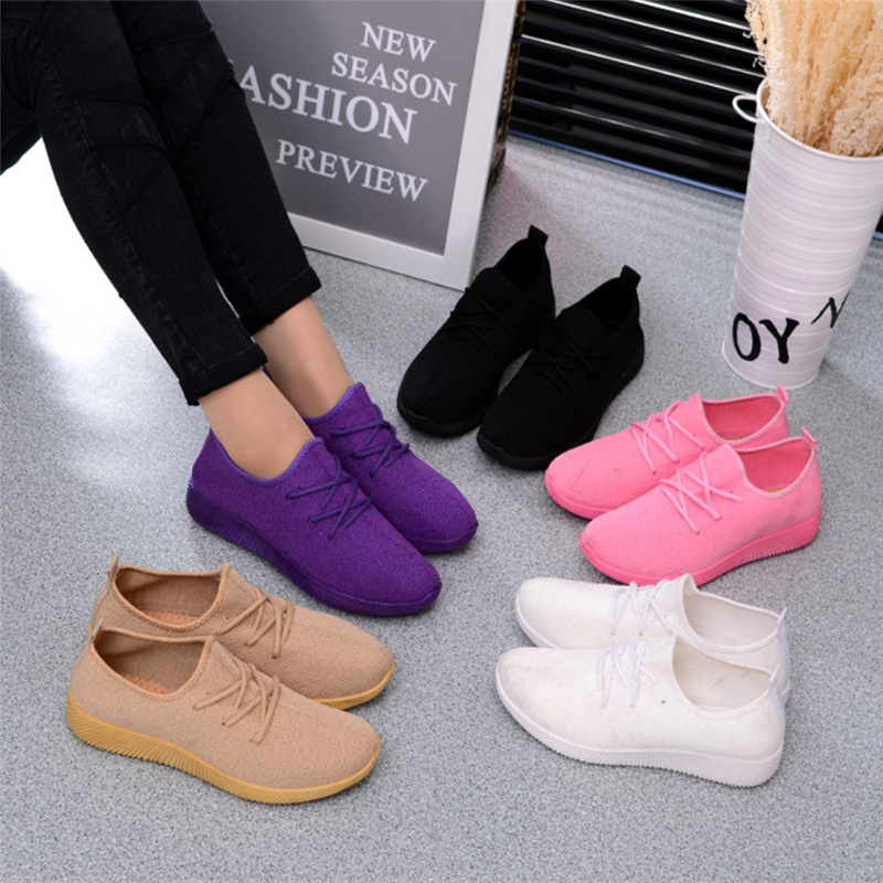 2020 Canvas Autumn Women's Sneakers Fashion Breathable Shoes Casual White Sneakers Summer Knitted Vulcanized Shoes Canvas Shoes