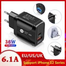 Vikefon 36w carregador rápido usb carga rápida 3.0 tipo c pd carregamento rápido para o iphone 12 11 carregador usb com qc 4.0 3.0 carregador de telefone