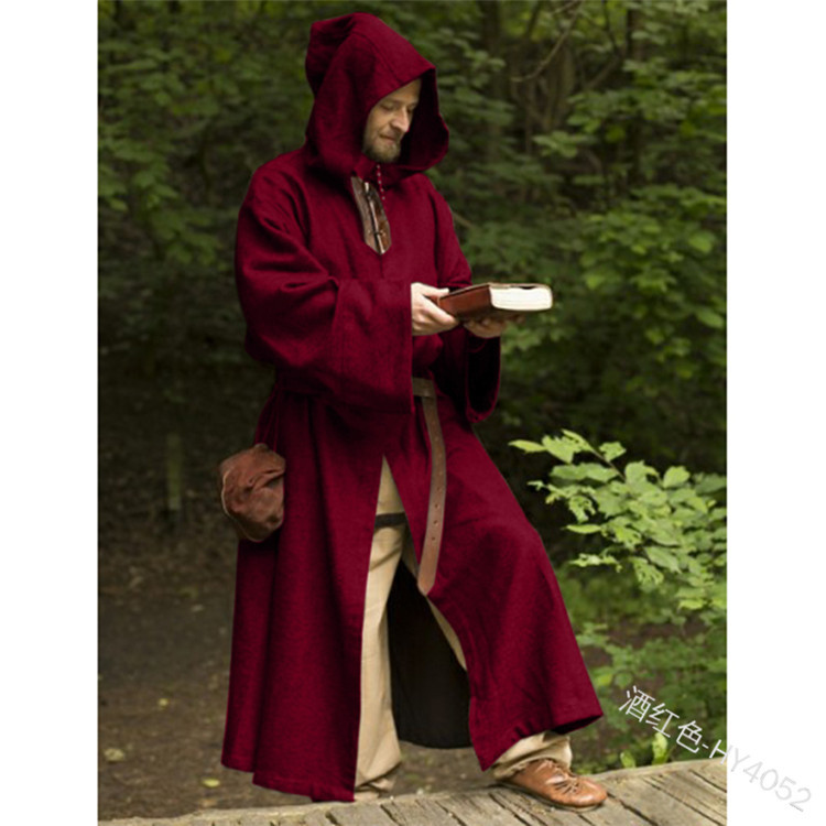 Friar Medieval Cowl Hooded Monk Renaissance Priest Robe Halloween Cos Costume US