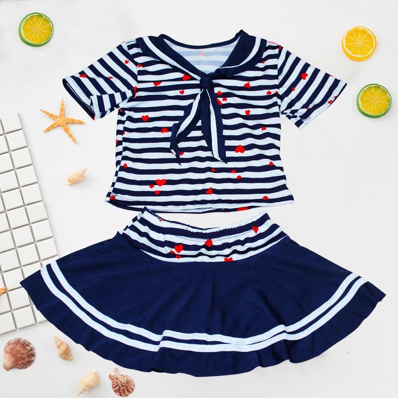 Fashion Girls Stripes Split Type Swimsuit Simple Charming Island-Style Princess Split Type Swim Dress