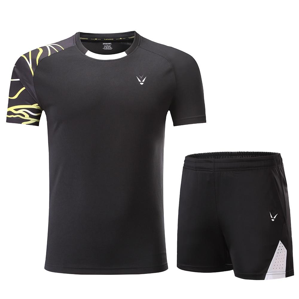 Комплекты для мужчин и женщин, футболки для бадминтона, черная рубашка для бадминтона, рубашка для бадминтона для мальчиков, Униформа, комплекты для настольного тенниса, шорты, одежда - Цвет: Black