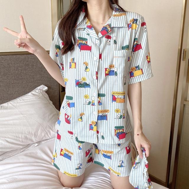 Caiyier Stripe Cute Print Pajamas Set Cotton Short Sleeve Sleepwear With Eye Mask Casual Nightwear Ladies Korean Pijama Mujer 2