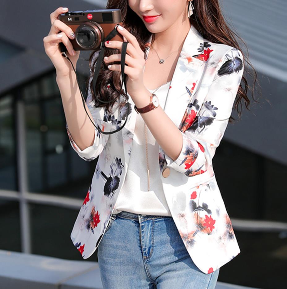 Summer Fashion Female Pink Whte Print Blazers And Jackets Women Long Sleeve One Button Women Blazer Coat Spring