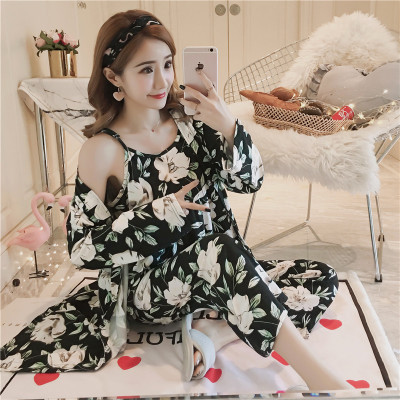 Spring And Autumn WOMEN'S Pajamas Cute Camisole Long Sleeve Kimono Fresh Students Large Size Three-piece Set-Summer Home Wear