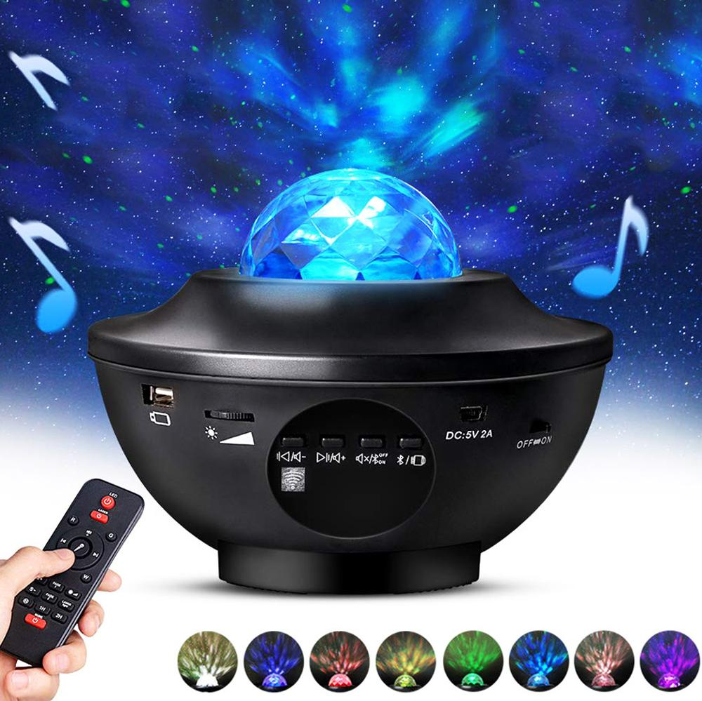 ZK50 USB LED Star Night Light Music Starry Water Wave LED Projector Light Bluetooth Projector Sound Activated Projector Light