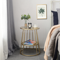 High Quality Wrought Iron Gold Nordic Small Coffee Table Creative Round Bedside Table Living Room Side Table Bedroom Corner Desk
