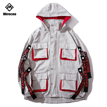 Mirecoo Jacket Men Multi-Pockets Ribbon Mens Patchwork Hip Hop Windbreaker Advanced Fashion Coat Streetwear
