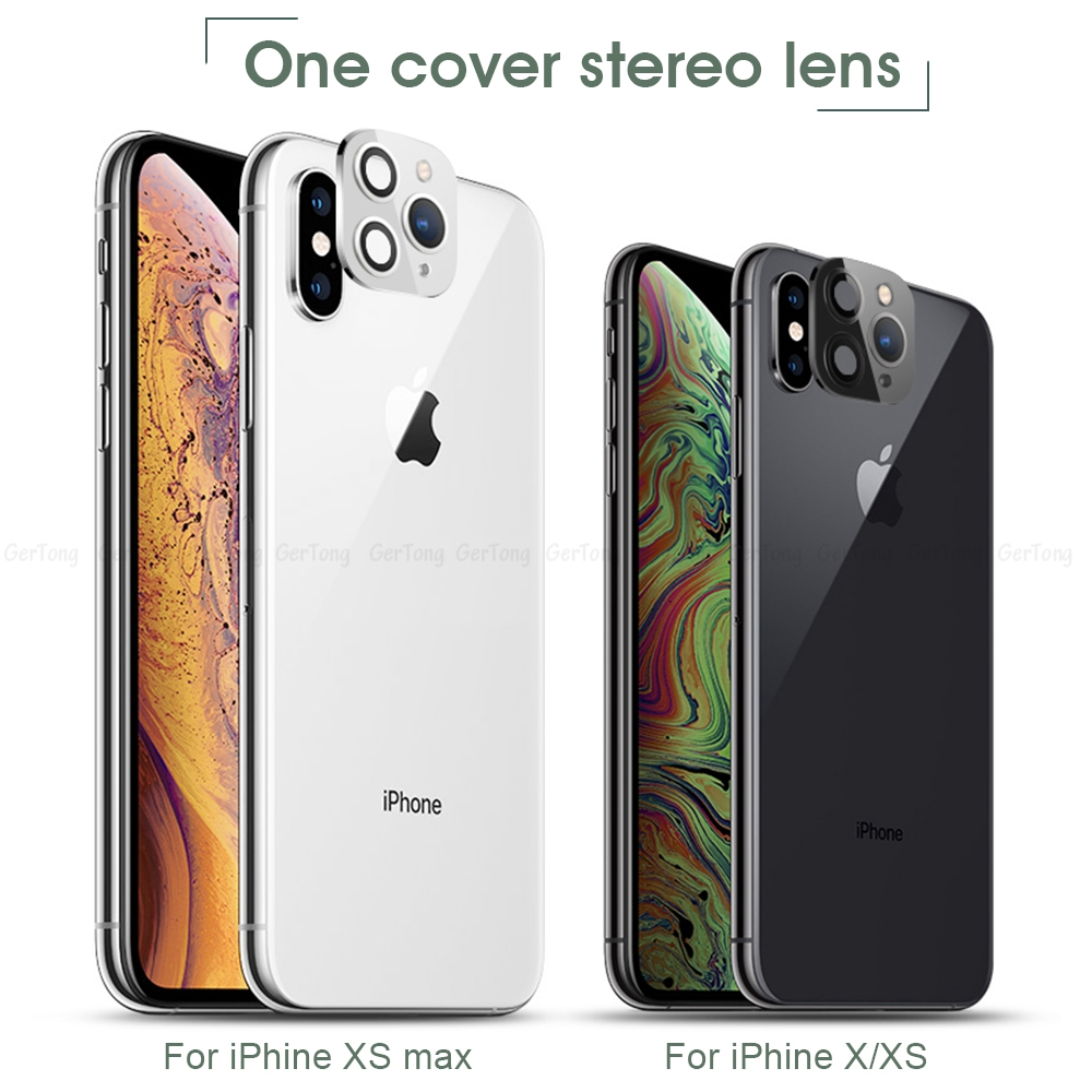 Ha2a741a6b0a341c68f0852dd5d998468V - 3D Alumium Camera Lens Seconds Change for iPhone 11 Pro Max Lens Ring Cover Sticker For iPhone X R XS MAX Rear Protective Cover