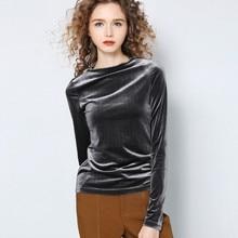 Chemisier col roulé Vintage en velours à manches longues pour femmes, bureau coréen, Streetwear, collection 2020