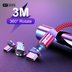 GTWIN-Cable magnético de carga rápida para móvil, cargador Micro USB tipo C para iPhone 11, XR, 7, 8, Samsung S9, 1M/2M/3M