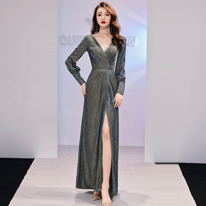 Evening Dress Sexy Double V-neck Robe De Soiree 2019 Pleat Sequined Women Party Dresses Split Full Sleeve Evening Gowns F173