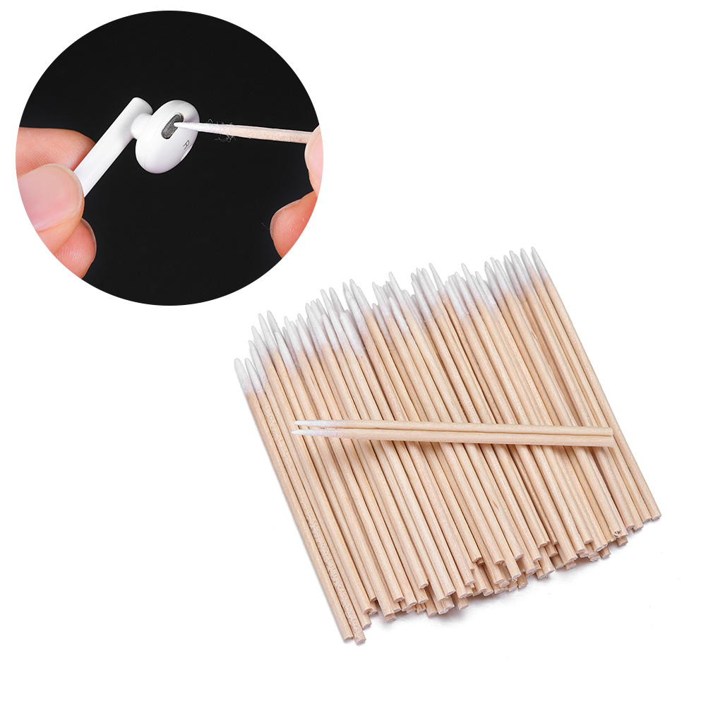 For Apple Airpods Airpod Case 100x Cotton Disposable Stick Cleaning Tool For AirPods Earphone Phone Charge Port