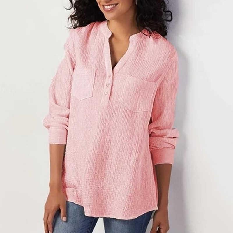 Camiseta de otoño para mujer, camiseta Casual para mujer, camiseta de manga larga, camiseta con bolsillos sueltos para mujer, camiseta con bolsillos sólidos