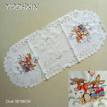 Europe oval cartoon Embroidery bed Table Runner flag cloth cover Lace tablecloth kitchen Easter party decor