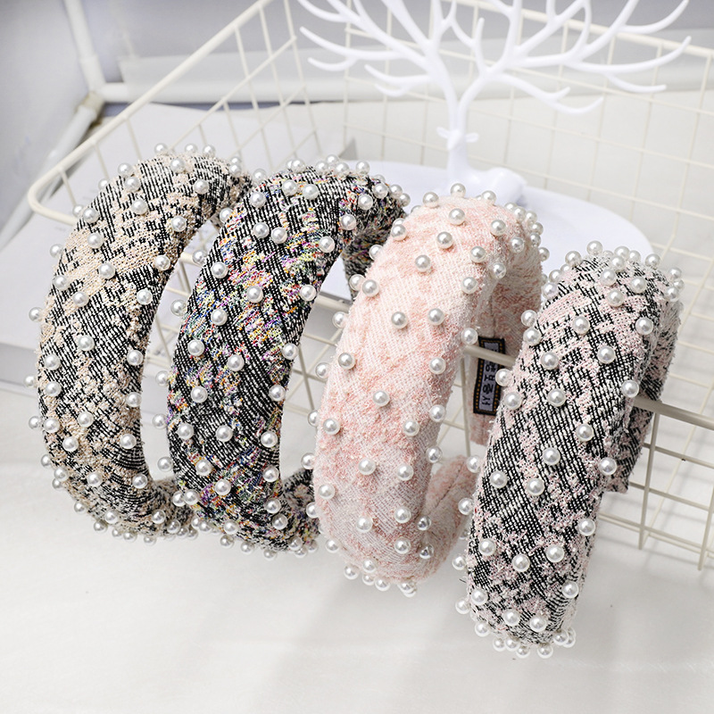 Hair Accessories Sponge Pearl Women Hairband Korean Colorful Fabric Female Hair Hoop Premium Elastic Headband Headwear
