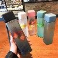 Новая квадратная матовая пластиковая бутылка для воды, портативная прозрачная бутылка, Герметичная Бутылка для фруктового сока, для спорта...